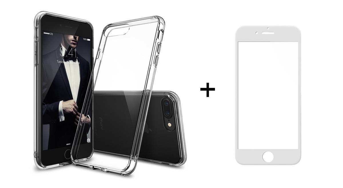 Комплект стъклен протектор с силиконови ръбове + Калъф, Remax Crystal, за iPhone 7/7S, Бял - 52226