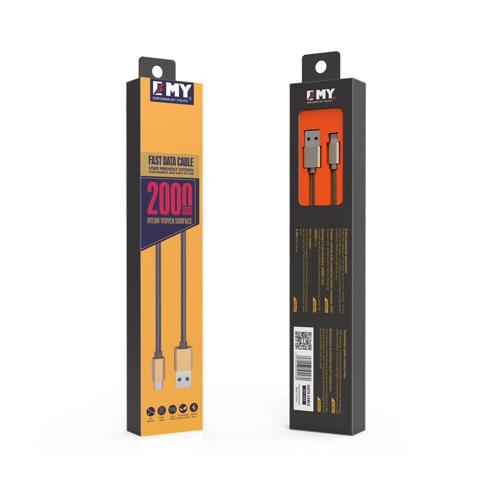 Кабел за данни, EMY MY-448, за iPhone 5/6/7 , 2.0м, Различни цветове - 14486