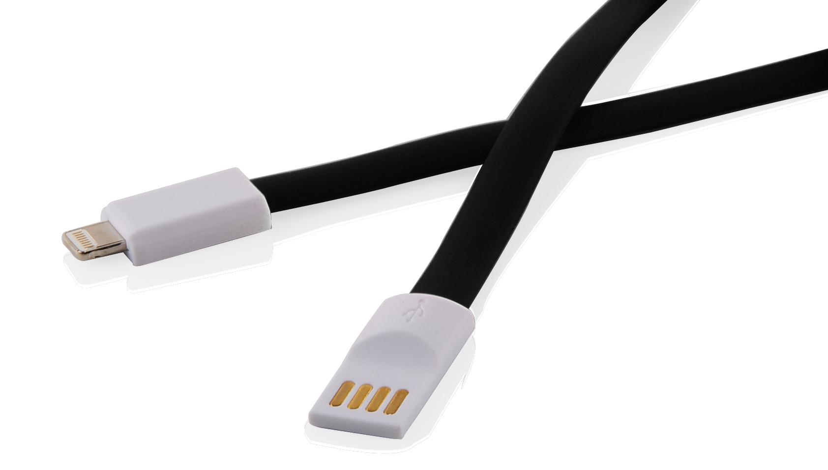 Кабел за данни DeTech USB - Lightning, iPhone 5/5s, 6,6S / 6plus,6S plus, Flat, С магнит, 1m - 14288