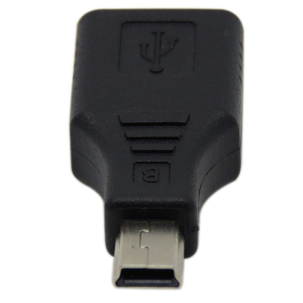 Преходник DeTech USB F към Mini USB 5P M, Черен - 17133