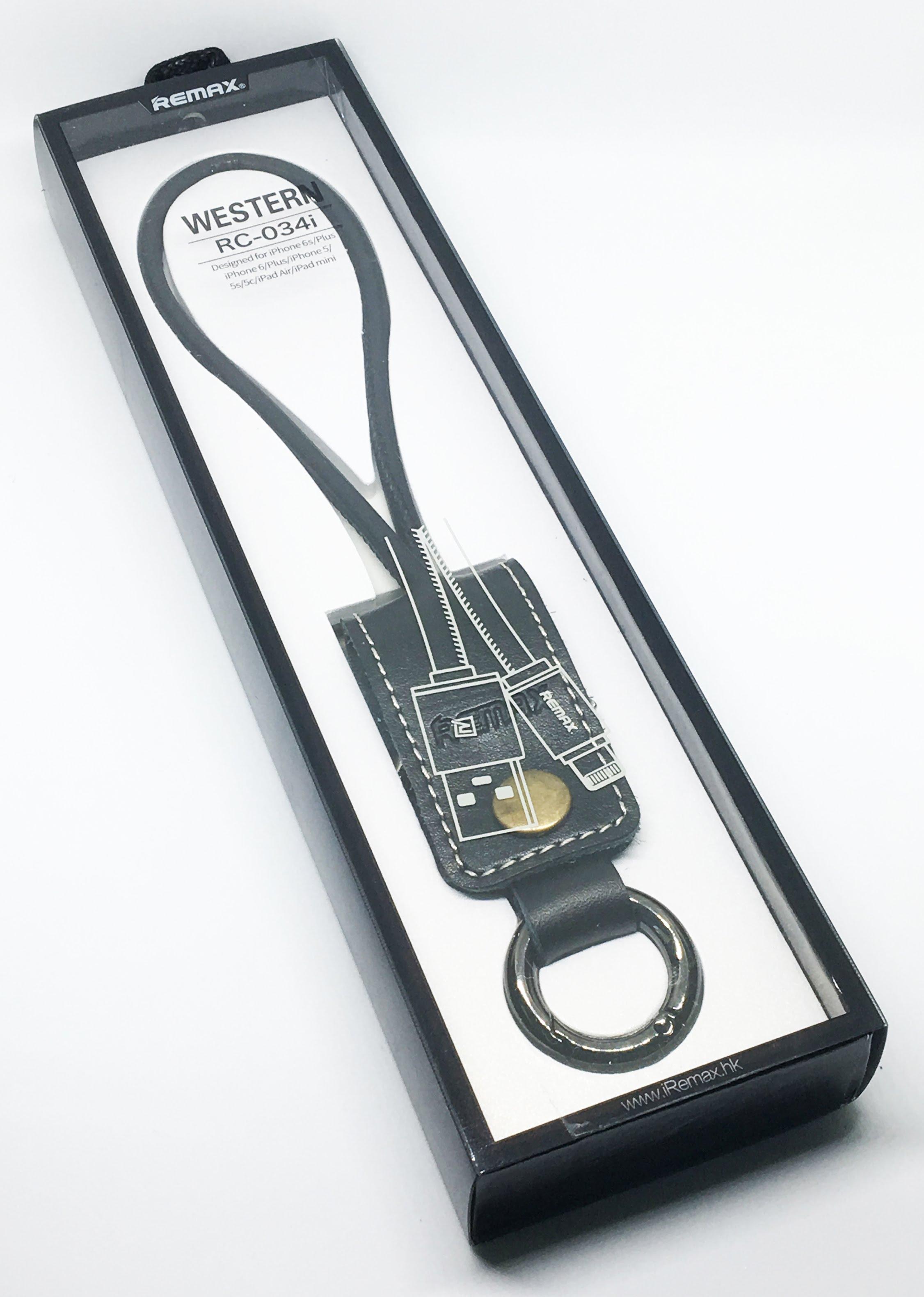 Кабел за данни micro USB, Remax RC-034I, ключодържател, естествена кожа,Черен - 14341