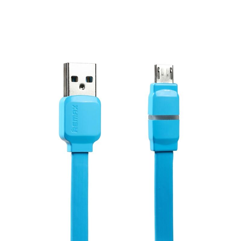 Кабел за данни micro USB, Remax Breathe RC-029m,1м, Бял, Син - 14347