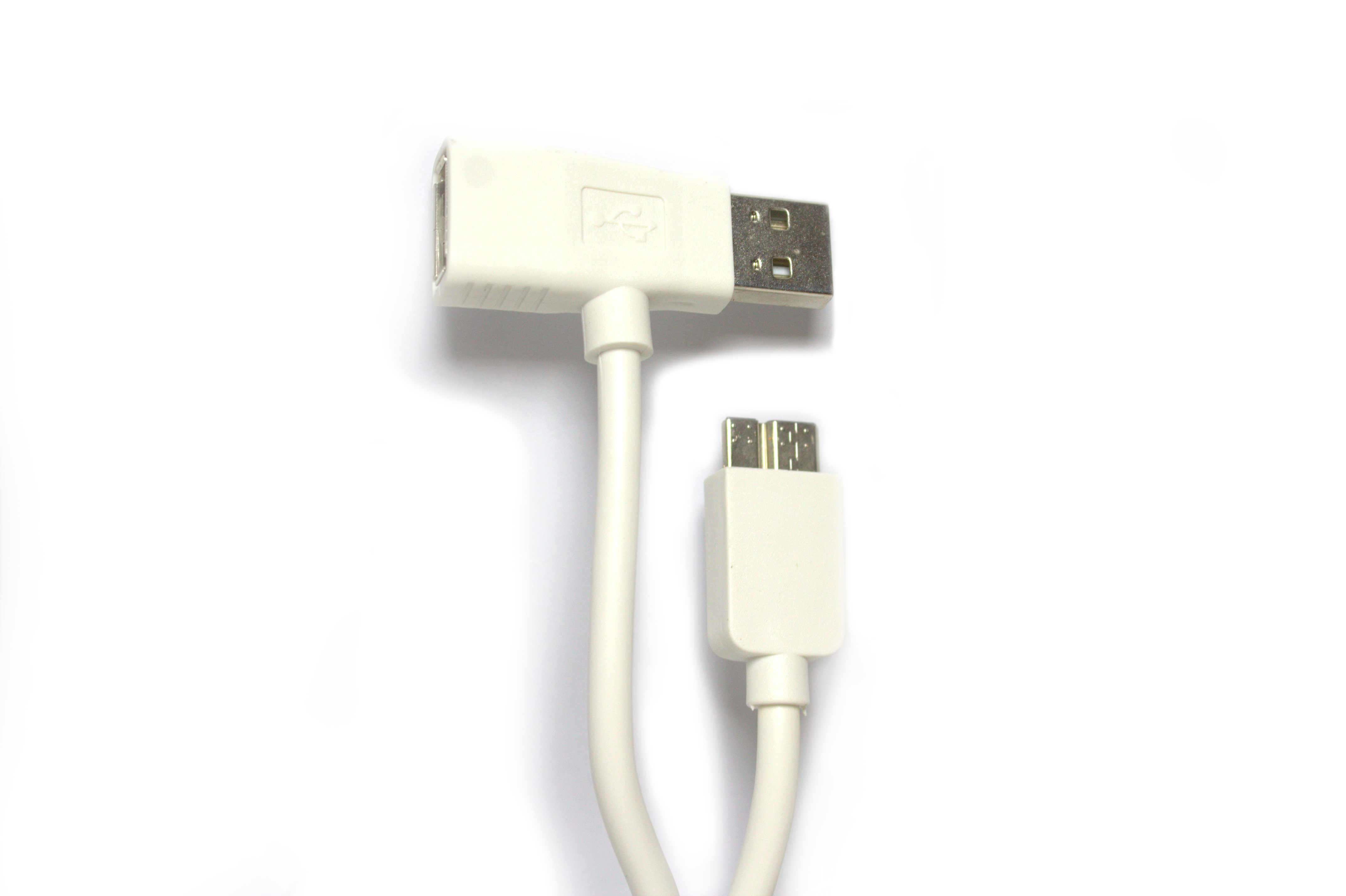 Кабел за данни No brand micro USB 3.0 - USB /USB F, SAMSUNG S5 / Note 3, Бял, 1m - 14231