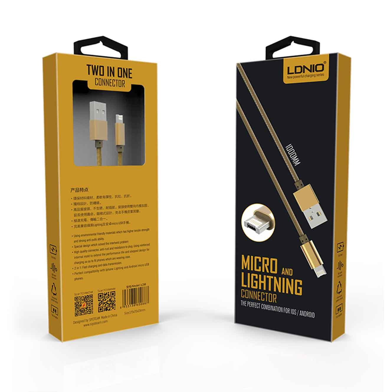Кабел за данни, LDNIO, 2 в 1, Micro USB + Lightning (iPhone 5/6/7), С оплетка, Златист - 14490