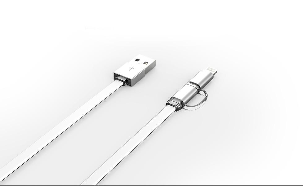 Кабел за данни, LDNIO LC84, 2 в 1, Micro USB + Lightning (iPhone 5/6/7/SE), 1.0m, С оплетка, Бял - 14389
