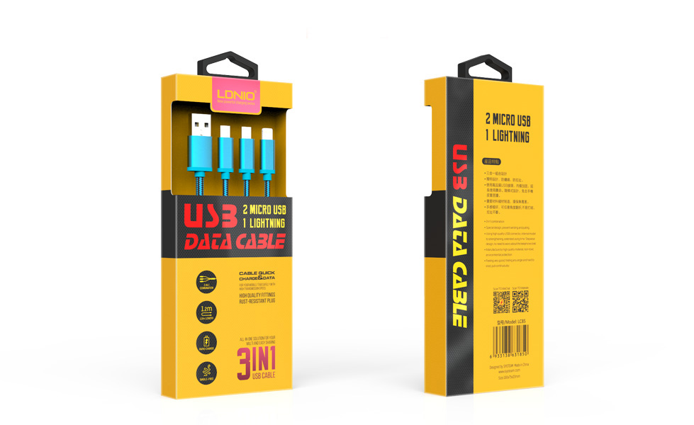 Кабел за данни, LDNIO LC85, 3 в 1, 2 x Micro USB + Lightning (iPhone 5/6/7/SE), 1.2m, С оплетка, Син, Червен - 14386
