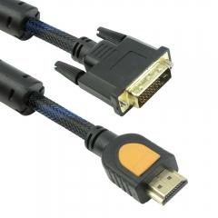 Кабел DeTech HDMI - DVI, 5m. Ферит, Черен, HQ - 18191