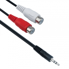 Аудио кабел DeTech 3.5 - 2RCA F, 25см  - 18215