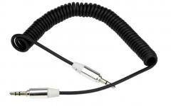 Аудио кабел DeTech, Eластичен, 3.5mm, 1m - 18239