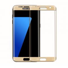 Стъклен протектор за целия екран, No brand, За Samsung Galaxy S7 Edge, 0.3mm, Златист - 52285