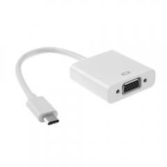 Преходник, DeTech, USB Type-C към VGA, Бял - 18290