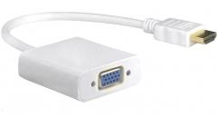 Преходник DeTech HDMI M - VGA F, 0.15м, Бял - 18153