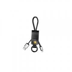 Кабел за данни iPhone Lighting, Remax Western RC-034i, Kлючодържател, естествена кожа, Черен - 14342