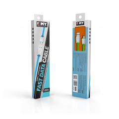 Кабел за данни, EMY MY-441, Micro USB , 1.0м, Бял - 14451