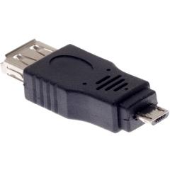 Преходник DeTech USB AF към Micro USB 5P M, Черен - 17136