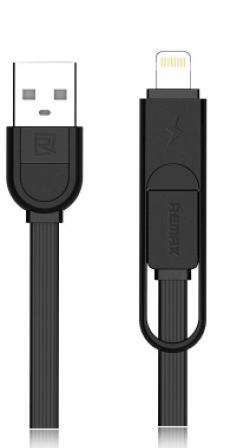 Кабел за данни 2 в 1 micro USB Iphone Lighting, Remax Yards RC-033T, 1м, Черен, Бял - 14345