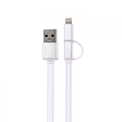 Кабел за данни, 2 в 1 , Remax Aurora, Micro USB / iPhone 5/6/7 Lightning, Бял -  14431
