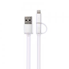 Кабел за данни, 2 в 1 , Remax Aurora, Micro USB / iPhone 5/6/7 Lightning, Бял -  14431